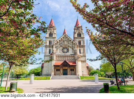 St. Francis Of Assisi Church On Mexicoplatz Square In Spring, Vienna, Austria