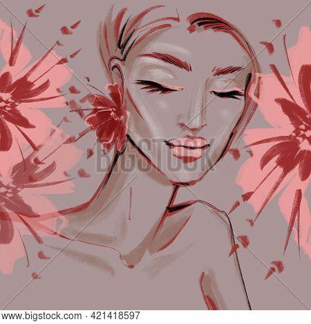 Portrait Of A Girl With Earrings Flowers Art Illustration For Design