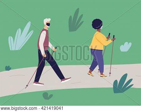 Elderly Fit Man And African Woman Engaged In Nordic Walking With Sticks On Path In Park. Old Athleti