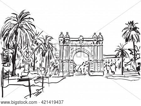 Barcelona ,arc ,trees In The City In Sunny Day