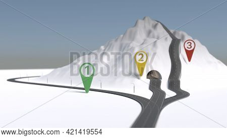 Easy Medium Hard Way Road Via Mountain Under Blue Sky With Marks 3d Illustration