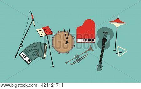Musical Instruments Flat Color Vector Icon Set. Drum, Piano, Trumpet, Guitar Sign Cartoon Design Ele