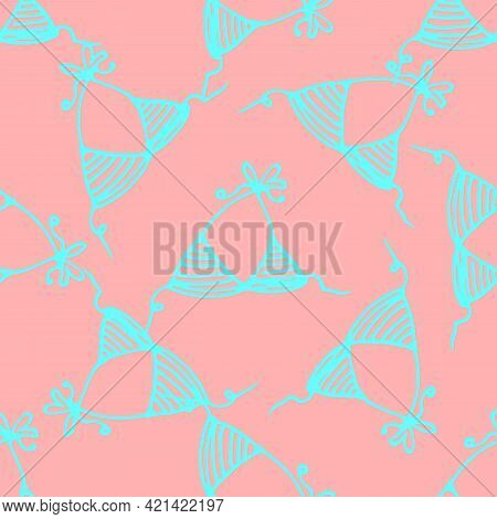 Vector Seamless Pattern Of A Swimsuit Bra. Vector Seamless Pattern Of Swimsuit Bra Color. Hand-drawn
