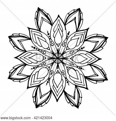 Mandala. Ethnic Decorative Elements. Hand-drawn Vector Mandala. Mandala Round Floral, Stylized Symme