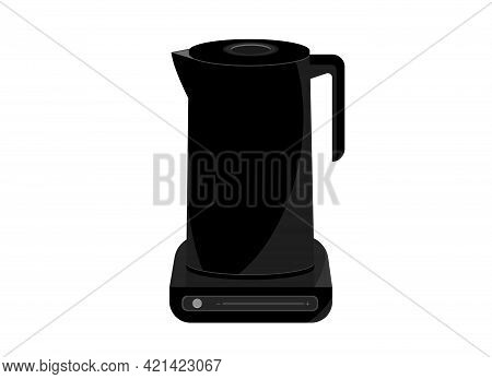 Black Electric Kettle On A Stand With Heating Control. Smart Kettle Concept. Vector Illustration