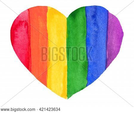 Watercolor Hand Painted Colorful Rainbow Set. Vector Pride Flag Isolated
