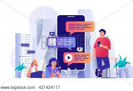 Messaging Service Concept In Flat Design. Online Communication And Email Scene Template. Man And Wom