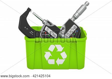 Recycling Trashcan With Digital Micrometer. 3d Rendering Isolated On White Background