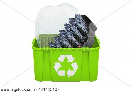 Recycling Trashcan With Hot Rollers, 3d Rendering Isolated On White Background