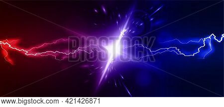 Lightning Collision Red And Blue Background, Versus Banner. Powerful Colored Lightnings And The Flas
