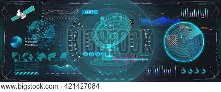 Space Antenna With Hud Interface Display. Sci-fi Dashboard With 3d Objects - Satellite, Earth Globe,