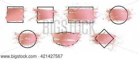 Rose Gold Brush Strokes Collection With Black Frame For Text. Grunge Artistic Design Boxes. Dirty Sp
