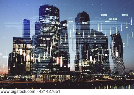 Real Estate And Property Index Concept With Growing Digital Financial Chart Candlestick On Night Meg