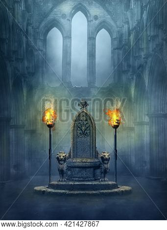 Fantasy Medieval Scene With A Throne And Tourches. Photomanipulation. 3d Rendering