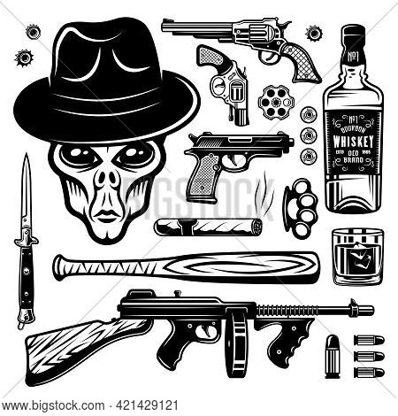 Alien Gangster And Weapons Set Of Monochrome Vintage Objects, Design Elements Isolated On White Back