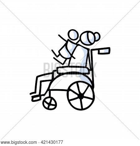 Drawn Stick Figure Of Senior Woman Hugging Grandchild In Wheelchair. Elderly Embrace Together Suppor
