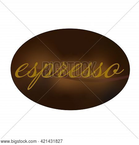 Coffee Bean Logo On White Background. Espresso Text Label On Brown Coffee Bean. Vector Illustration