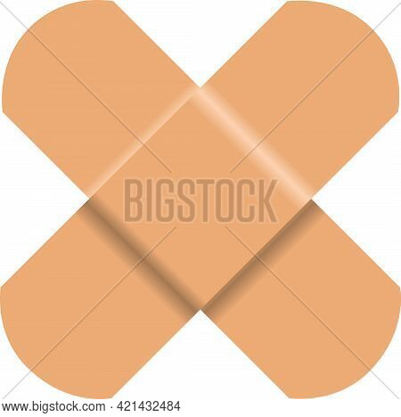 Used Medical Adhesive Plaster In A Common Used Form - A Cross.