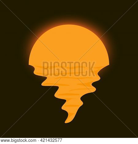 Vector Of Moon Reflection On Sea. Night Moonlight Glowing On Dark Background Illustration Design
