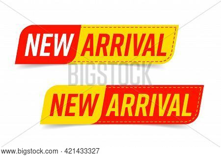 New Arrival Stitching Sticker, Label Or Badge Design Set. Design Element With Speech Bubble Shape An