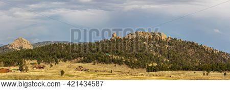 Beautiful Rocky Landscape With Farm Houses Near Paradise Cove / Guffey Gorge Park, Colorado Springs,