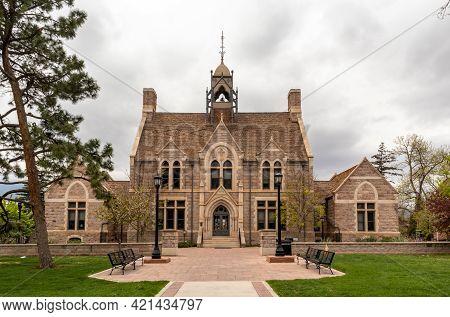 Colorado Springs, Colorado - May 15, 2021: Historic Admission Building Of Colorado College, Colorado