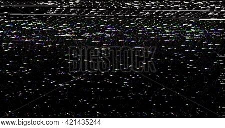 Vhs Screen Digital Glitch And Noise. Videotape Tracking Defect Mode. Bkack And White Dynamic Noise M