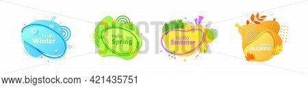 Set Of Seasonal Banners In Paper Cut Style. Winter Summer Autumn Spring Gradient Color Flyers. Colle