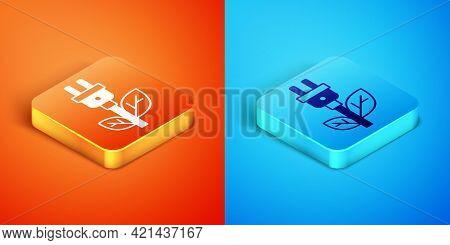Isometric Electric Saving Plug In Leaf Icon Isolated On Orange And Blue Background. Save Energy Elec
