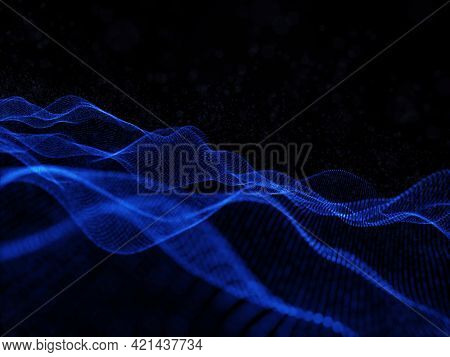 3D render of an abstract background with modern flowing particle design