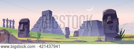 Ancient Mayan Pyramids And Moai Statues On Easter Island Sunrise Morning Landscape. South American L