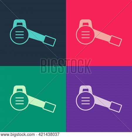 Pop Art Leaf Garden Blower Icon Isolated On Color Background. Vector