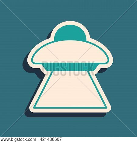 Green Ufo Flying Spaceship Icon Isolated On Green Background. Flying Saucer. Alien Space Ship. Futur