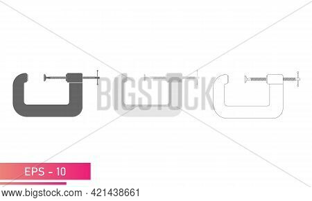 Set, Clamp For Carpentry And Locksmithing. Linear, Solid And Realistic Design. On A White Background