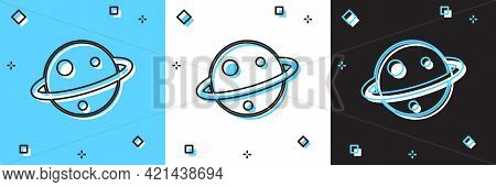 Set Planet Saturn With Planetary Ring System Icon Isolated On Blue And White, Black Background. Vect