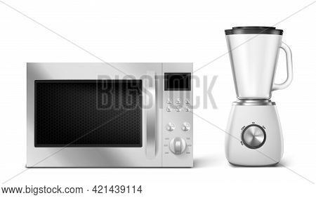 Kitchen Appliances Microwave And Blender. Household Technics With Digital Display, Buttons And Turne