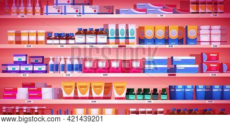 Pharmacy Shelf, Drugstore Rack With Medicine Retail Products, Shop Showcase With Pharmaceutical Pill