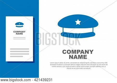 Blue Military Beret Icon Isolated On White Background. Soldiers Cap. Army Hat. War Baret. Logo Desig