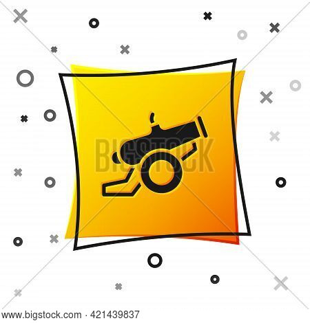 Black Cannon Icon Isolated On White Background. Yellow Square Button. Vector