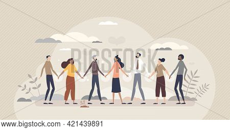 Solidarity And Unity In Different Social Ethnic Groups Tiny Person Concept. Multiracial Crowd Standi