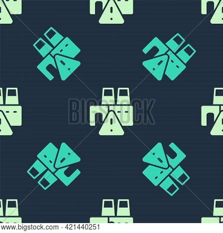 Green And Beige Shutdown Of Factory Icon Isolated Seamless Pattern On Blue Background. Industrial Bu