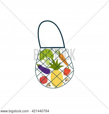Grocery Shopping Turtle Bag With Various Healthy Products On White Isolated Background Natural Food,