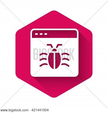 White System Bug Concept Icon Isolated With Long Shadow Background. Code Bug Concept. Bug In The Sys