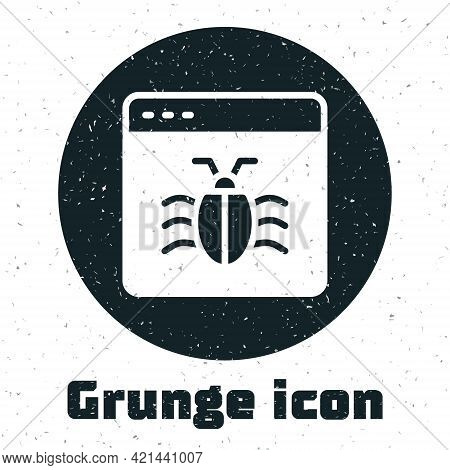 Grunge System Bug Concept Icon Isolated On White Background. Code Bug Concept. Bug In The System. Bu