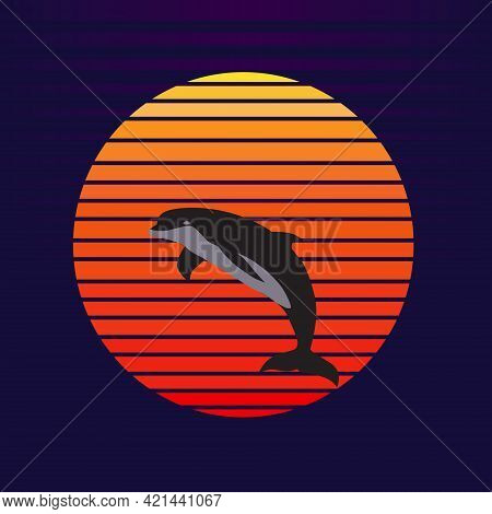 Vector Of Dolphin On Sunset Background. Dolphin Jumping Out Of Water Company Logo Illustration Desig