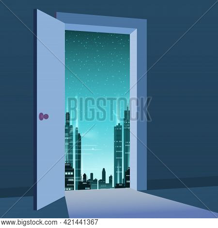 Open Door To Nature Way. City Night, Moon, Town, Symbol Freedom, New Way Exit, Discovery, Opportunit