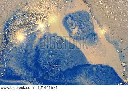 Navy Blue And Gold Shining Abstract Marble Background