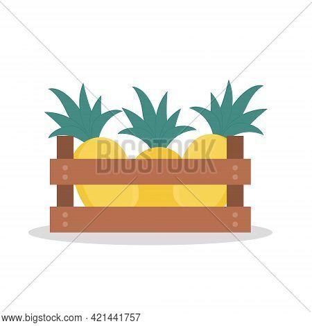 Wooden Box Full Of Pineapple. Vector Illustration