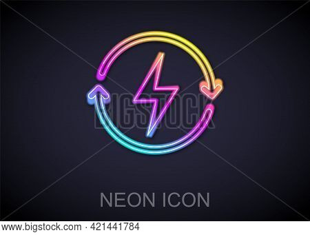 Glowing Neon Line Recharging Icon Isolated On Black Background. Electric Energy Sign. Vector