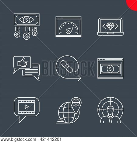 Seo Line Icons Set. Seo Related Vector Icons. Target Audience, Video Marketing, Backlinks, Landing P